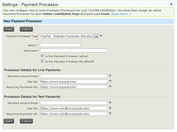 CiviCRM - Configure Payment Processor