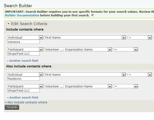 CiviCRM Search Builder
